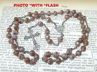 French Art Nouveau 1900 Antique Silver *Early Saphiret Rosary Cross Floral decor