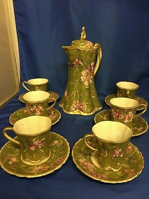 Vintage/Antique Hot Chocolate Set – Covered Pot, 6 Cups, 6 Saucers