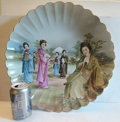 Japanese Fluted Porcelain Huge 39 cm  Hand Painted Charger.Really Stunning !!