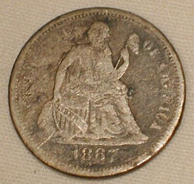 1867-S Seated Liberty Dime US Silver Coin Key Date Estate Find