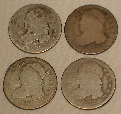 Lot of 4 Capped Bust Dime US Silver Coin Dated 1829 1836 & 1837 Estate Find