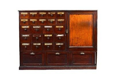 A Victorian mahogany medicine apothecary cabinet with 25 drawers and cupboard