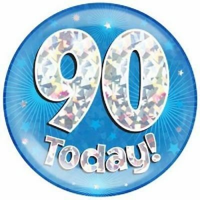 "6"" Jumbo Blue 90 Today Birthday Badge Mens New Party Holographic Pin 90Th"