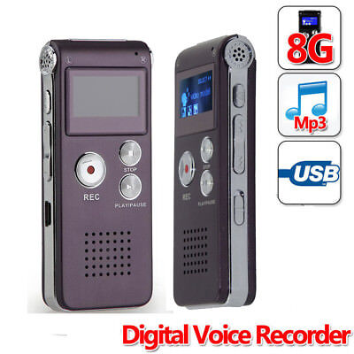 Mic 8GB Voice Activated USB Digital Audio Voice Recorder Dictaphone MP3 FG