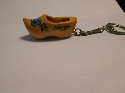 vintage wooden shoe keychain from NORWAY