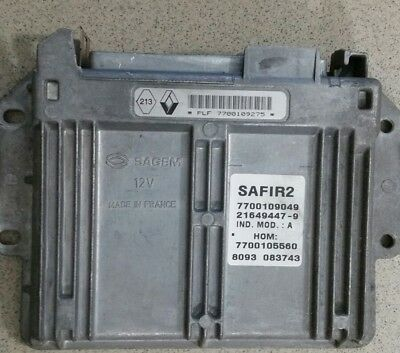 Calculateur SAFIR 2 Renault 1.2 7700109275 hom7700105560 35 pin immo off décodé