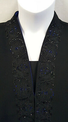 Black Navy Cold Water Creek Sequin Dining Jacket Size 20W SZ 2X Womans Formal