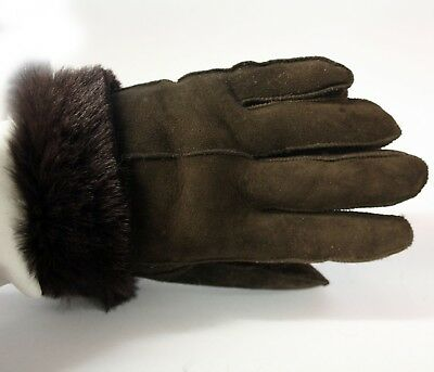 Genuine Sheepskin Leather Ladies Mens Unisex Fur Cuff Winter Gloves