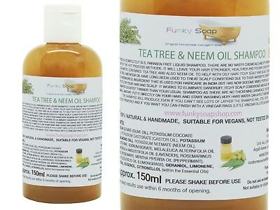 1bottle Liquid Tea Tree & Neem Oil Shampoo 100% Natural SLS Free 150ml