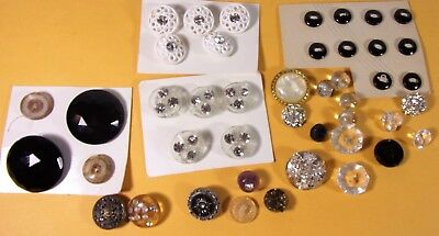 Vintage Antique Sewing Button Lot Rhinestone Paperweight Black Glass Sets Metal