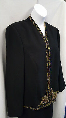 Cold Water Creek Sequin Black gold Dining Jacket Size 20W SZ 2X Women