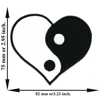 Black White Heart Yin Yang Tao China Chinese Applique Iron on Patch Sew DIY