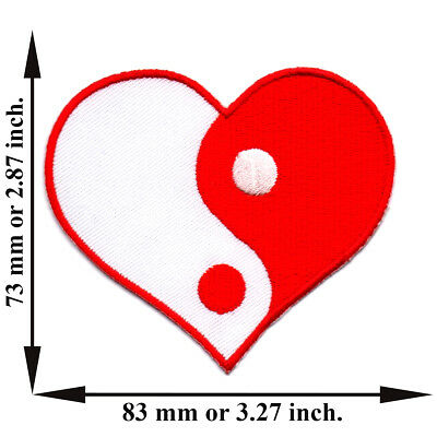 Red White Heart Yin Yang Tao China Chinese Applique Iron on Patch Sew DIY