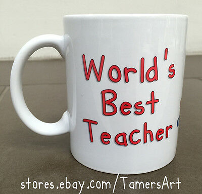 WORLD'S BEST TEACHER CERAMIC  MUG PERSONALIZED WITH NAME 11oz