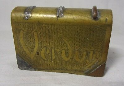 Antique VERDUN 1918 WWI Trench Art Match Box Holder Brass Match Book Holder Rare