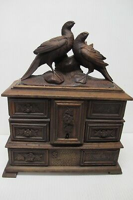Antique Black Forest Hand Carved Wooden Jewelry Box Birds /Figural/Floral~c1880