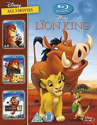 The Lion King Trilogy (Blu-ray, 3 Discs, Disney, Region Free) *NEW/SEALED*