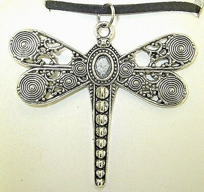 "New   Large Beautiful  DRAGONFLY  Silver-tone Pendant  18"" -  20"" Black Necklace"