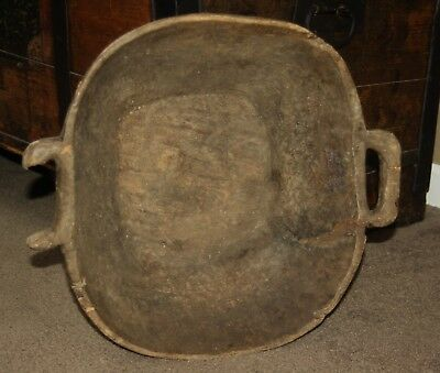 Antique, As Found, Primitive Hand Carved Wooden Dough Bowl; 1800's old repairs