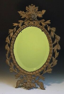Antique Victorian Metal Easel Table Top Mirror With Lions Face