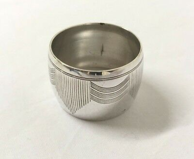 Stylized Art Deco antique napkin ring silver plated round, single, tableware