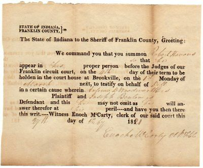 Indiana;  Presidential Elector Enoch McCarty; 1821 signed document