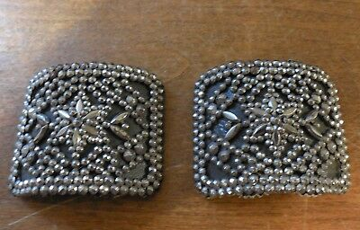Vintage Antique Pair Steel Cut Shoe Buckles Clips Made In France