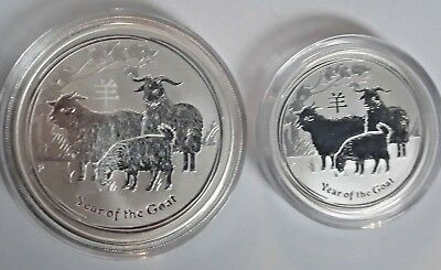 2015 1 Oz + 1/2 OZ AUSTRALIAN LUNAR SERIES II .999 Pure Silver  YEAR OF GOAT