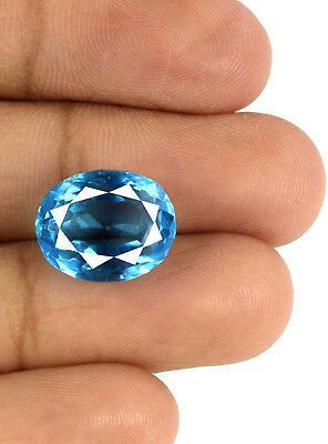 100% Natural Swiss Blue Topaz Gemstone 7.55 Ct Oval VS Clarity Certified E3416