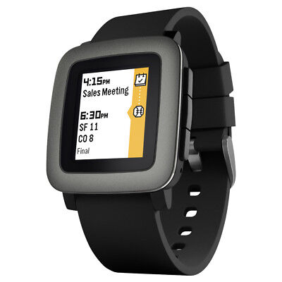 Pebble Time Smartwatch noire (bracelet silicone noir)