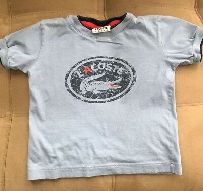 Lacoste  T Shirt Toddler Boys Blue Size 4T Short Sleeve 100% Cotton
