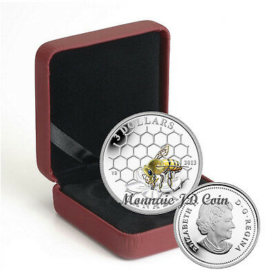 2013 Canada $3 Coin Animal Architects Bee And Hive Pure Silver Exempt Tax