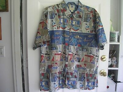 EUC Men's AVi Kahala Hawaiian Islands Camp Shirt XXL 100% Cotton Scenic