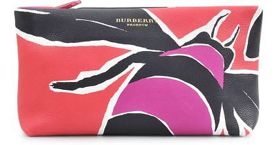 4066f2798f09 Nwt Burberry Prorsum Insect Berry tulip Pink Leather Clutch Handbag  1450