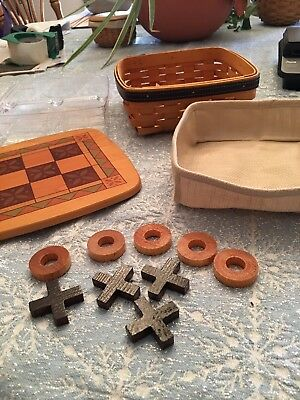 Longaberger Father's Day Tic-Tac-Toe Basket W/Protector Liner X's & O's And Lid