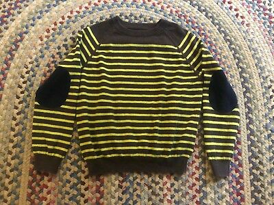 Boys Mini Boden Knit Striped Sweater Size 6-7 Years Elbow Patches