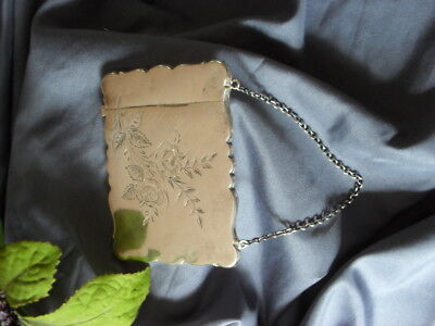 """Offrs Sterling Silver VICTORIAN """"CALLING CARD"""" CASE. PURSE Chain handle. Ladies"""