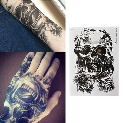 Waterproof Black Scary Skull Temporary Tattoo Large Arm Body Art Sticker FBCA KK