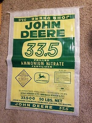 John Deere Ammonium Fertilizer Bag Vintage 1950s Farm Corn Sack old Sign barn