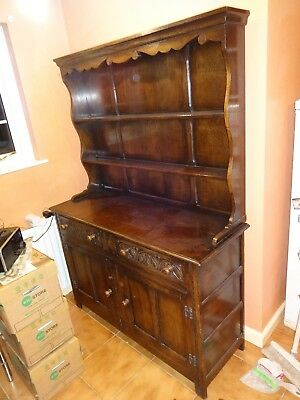 "Antique Welsh Dresser, ""p. Cave From Birmingham"". Dark Oak"