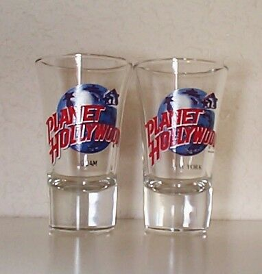 PLANET HOLLYWOOD lot of 2 shot glasses Guam, New York advertising collectible