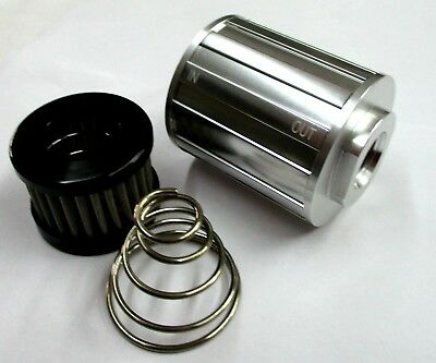 08 an Female Compact Fuel Filter Pol Silver 10 mic s/s element w/ Fittings