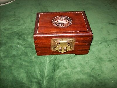 Vintage Chinese Hardwood Jewellery Box with Brass Fittings, carved design to lid