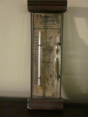 Antique Thermometer Barometer Advertising Metropolitan Hardware New York