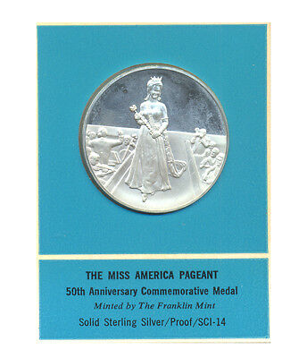 Miss America Pageant 50th Anniversary Medal Franklin Mint Sterling Silver