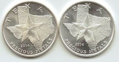 2-2014 Texas Metal Long Horns Style 1-Troy oz. Rounds.9999 Silver