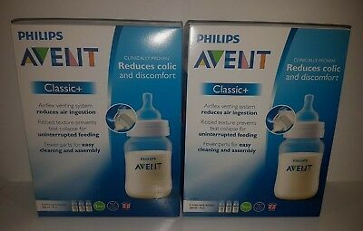 2 x Philips Avent Classic+ 3 wide-neck bottles 260ml 1m+ New Total 6 bolltes