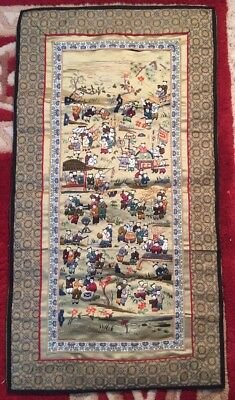 Vintage Chinese Silk Embroidery Tapestry Hundred Children