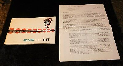 1962 Ford Lincoln Mercury Meteor S-33 Automobile Advertising Owners Manual