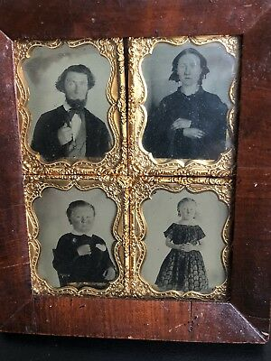 Daguerreotypes 4 Pictures Full Family In One Frame - Unusual, Early, Tinted